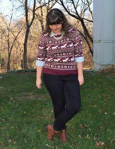 Reindeer sweater + chambray + black skinnies + booties