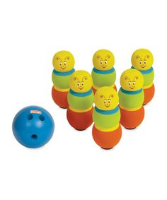 This charming bowling set will get the whole family moving. It features bright colors and a darling design that engages little ones as it encourages large motor skills, coordination, persistence, sportsmanship and fair play.Includes six pins and ballEach pin: 8'' H x 3.5'' diameterBall: 6'' diameter