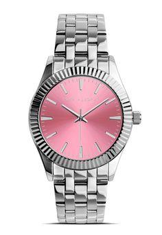 4ca7bc5a9a0f Reloj plateado mujer pura alegria esfera color rosa acero inoxidable