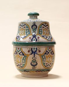 Green Moroccan Fes Design Pot with Lid