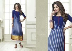 "Designer Wear Printed Georgette Kurti with American Crepe lining in Blue color. Length: 45"" and Size: L, XL."