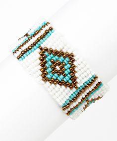 Teal & Gold Diamond Seed Bead Bracelet