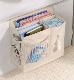 Bedside Storage Caddy is consider a top must have dorm room essential product. Some dorm stuff like our bedside caddy is a real need. Without this convenient products students must jump in and out of bed for the smallest of things. Bedside Caddy, Bedside Organizer, Bedside Storage, Storage Caddy, Camper Storage, Bed Caddy, Bedroom Storage, Hanging Storage, Fabric Storage