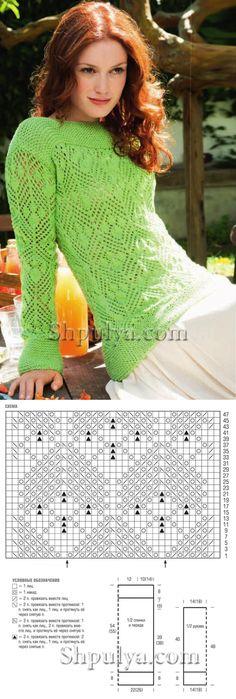 www.SHPULYA.com - Ажурный зеленый пуловер с узором из листьев