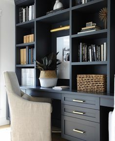 Rustic Home Office Design Ideas. Hence, the requirement for house offices.Whether you are planning on including a home office or restoring an old area into one, here are some brilliant home office design ideas to help you get started. Office Built Ins, Built In Desk, Built In Bookcase, Built In Cabinets, Dark Cabinets, Office Bookshelves, Bookcases, Home Office Shelves, Office Nook