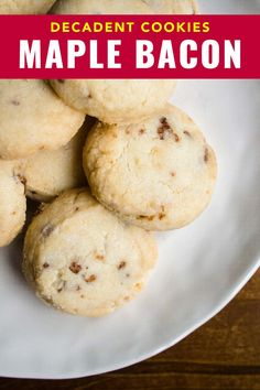 Easy peasy maple bacon cookies. This recipe is from a bakery specializing in shortbreads and you'd be surprised how easy they are to make at home. #cookies #recipe #maple #bacon #shortbreads #bacon Best Dessert Recipes, Brunch Recipes, My Recipes, Baking Recipes, Breakfast Recipes, Desserts, Bacon Cookies, Around The World Food, Magic Recipe