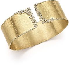 Bloomingdale's Diamond Cuff Bracelet in Yellow Gold, ct. - Exclusive Jewelry & Accessories - Fine Jewelry - All Fine Jewelry - Bloomingdale's Gold Bangles, Silver Bracelets, Jewelry Bracelets, Diamond Bracelets, Gold Jewelry, Jewellery, Diamond Jewelry, Silver Cuff, Sterling Silver