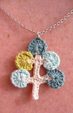 Crocheted Necklace Pendant. Adorable!