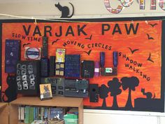 """"""" finished the display for Varjak Paw using recycled material for the city. What do you think ? Class Displays, Classroom Displays, Classroom Ideas, Reading Corner School, Ks2 English, New Class, Display Boards, Display Ideas, May Flowers"""