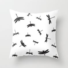 Black Dragonflies Throw Pillow by Aldari Art Studio - $20.00
