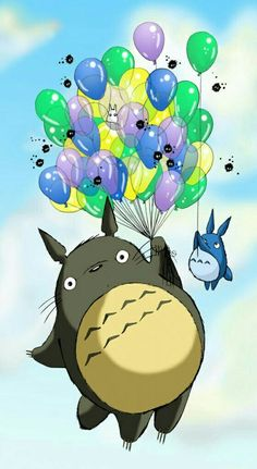 My Neighbor Totoro, balloons, flying, funny; Studio Ghibli