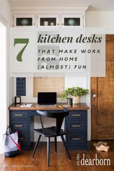 Looking for some inspiration for your work from home setup?  Sarah Robertson of Studio Dearborn has rounded up 7 desks with desk organization and WFH style to boot.  File drawers, charger drawers, home offices and command centers all require thoughtful design and custom storage solutions.  Kitchen desk storage needs to hold kids art supplies, printer drawers, files, electronics and more.  Beautiful home offices and kitchen desks make work (almost) fun!  Hop to the blog to see them all