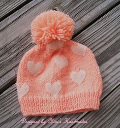 Peach Beanie with Off White  HEARTS hand sewn  by NinisHandmades