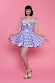 4f6605f31e8  Polly  Skirted Playsuit - Purple Gingham