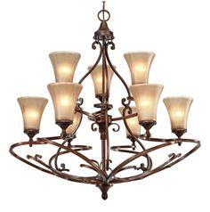 Golden Lighting 4002-9 Loretto 9 Light Chandelier Russet Bronze Indoor Lighting Chandeliers