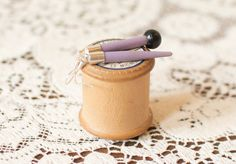 Lilac & Black pair of upcycled vintage knitting needle earrings by YellowBearWares