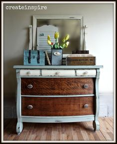 Two-Tone Furniture Makeovers Antique Empire Dresser makeover from {createinspire} Source by . Repurposed Furniture, Rustic Furniture, Antique Furniture, Diy Furniture, Outdoor Furniture, Modern Furniture, Furniture Refinishing, Powell Furniture, Furniture Buyers