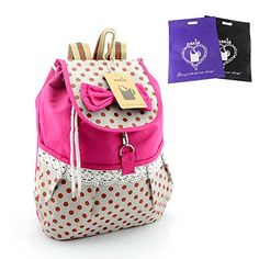 DAKIA Girl's Lovely Bowknot Leisure Super Cute Canvas Backpack School Bag for Student (pink)
