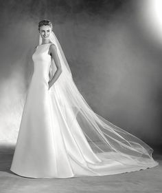 ELMA - Mikado wedding dress with bateau neckline. | Pronovias