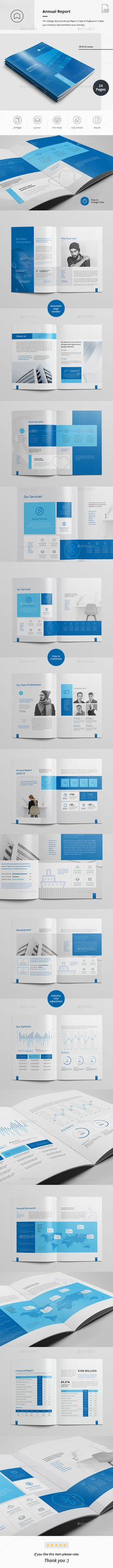 Annual Report Brochure Template InDesign INDD - 24 Custom Pages, A4 & Us Letter Size