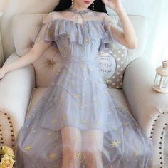 e4f79c9a11 Gray/Beige Starry Short Sleeve Tulle Dress S12737