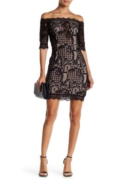 Lace Bardot Cocktail Dress