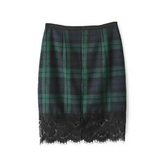 Tartan Pencil Skirt With Lace Hem Panel ($26) ❤ liked on Polyvore featuring skirts, stylemoi, plaid, lace skirt, black skirt, lace pencil skirt, zipper pencil skirt and fitted skirts