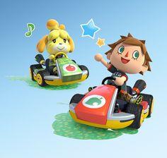 Isabelle and Villager Mario Kart 8 DLC art - Animal Crossing DLC