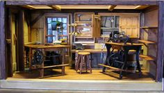 1896 Pattern Shop with Pedal Tools : Custom Miniature Room Boxes - Miniatures by Shaker Works West