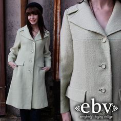 Vintage  60's Pistachio Mod Boho Fitted Jacket Military by shopEBV, $68.00