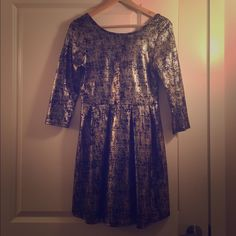 Gold/Black Holiday Dress Beautiful fit and flare dress, gold and black one clothing Dresses