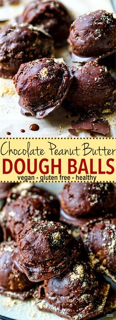 Vegan Chocolate Peanut Butter Dough Balls with hidden Veggies. Gluten Free Peanut Butter dough coated in a dark chocolate magic shell and amazingly delicious! No one will ever know they are good for you, packed full of fiber, veggies, and natural sugars! Easy to make, ready in under 45 minutes, and loved by ALL! @cottercrunch @betterbodyfoods