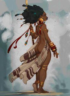 "Xiomara: ""Ready for battle"" -african warrior princess. Art And Illustration, African American Art, African Art, Character Design References, Character Art, African Goddess, Black Artwork, Tatoo Art, Black Women Art"