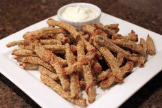 Oven Fried Green Beans with Wasabi Dipping Sauce