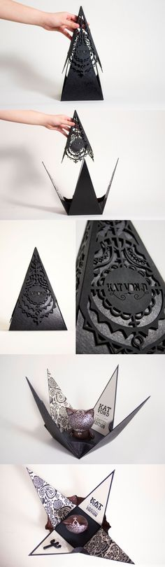 This is packaging, created by MeiCheng Wang, for a limited edition KidRobot customizable figure designed as if from tattoo artist Kat Von D. Both doll and package were inspired by the gothic, elegant style of Ms. Von D's recent fashion and makeup lines. - Repinned