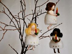 Christmas Tree Decoration hanging little fairy made by MagicWool