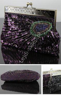 Amazing purple bag - peacock. Fioletowa torebka z cekinami - pawie pióro, koraliki