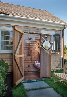 Transform a backyard shed into so awesome outdoor bathroom.