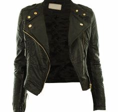Gracious Girl Black UK 14 - Diana New Womens Faux Leather Biker Gold Button Zip Crop Ladies Jacket Coat ***AW 2012 New Styles***