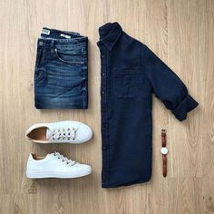 casual style outfit grid for men Stylish Mens Outfits, Casual Outfits, Men Casual, Easy Outfits, Casual Shirt, Fashion Mode, Fashion Outfits, Mens Fashion, Style Fashion
