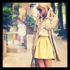 The combo of the trench, white blouse and the yellow skirt just makes this outfit WORK. Love it alllllll