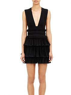 Isabel Marant Gauze Pleated Glory Dress // Black mini dress