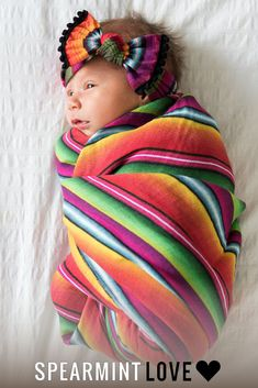 Bow & Swaddle Set, Baja - Spearmint Ventures, LLC A lil' cowgirl must! Who doesn't love serape? Cute Kids, Cute Babies, Mexican Babies, Beautiful Children, Newborn Photos, Baby Fever, Future Baby, Baby Pictures, Baby Items