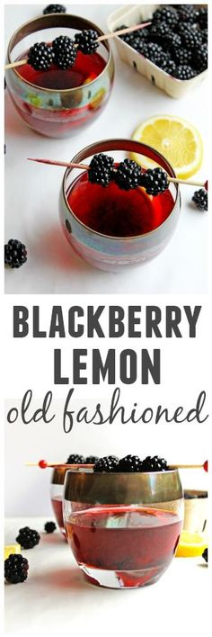 Blackberry lemon old fashioned – a refreshing and delicious spin on the classic … Blackberry Lemon old-fashioned – a refreshing and delicious variation of the classic old-fashioned cocktail recipe! Easy Drink Recipes, Best Cocktail Recipes, Alcohol Recipes, Summer Recipes, Vegan Recipes, Coffee Cocktails, Fun Cocktails, Fun Drinks, Beverages