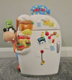 Goofy talking refrigerator cookie jar