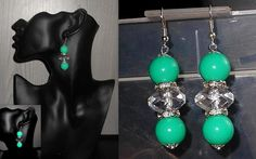Mint color dangle beads earrings with rhinestone spacer beads