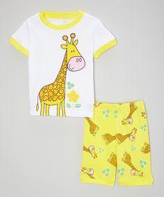Look what I found on #zulily! Yellow Giraffe Pajama Set - Infant, Toddler & Girls by el-ow-el pajamas #zulilyfinds