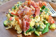 Scrambled Eggs with Bacon and Veggies - Makes a hearty breakfast for two adults.  Approximate cooking time: 20 minutes
