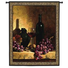 Fine Art Tapestries Wine Bottle With Grapes and Walnuts Wall Tapestry