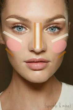 Highlight & Contour Guide. Easy to follow, but takes practice to do on yourself. Click source for more guides.
